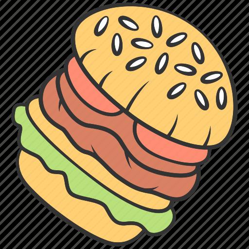 burger, dinner, fast, food, hamburger, sandwich, unhealthy icon