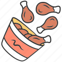bucket, chicken, dish, eat, nuggets, restaurant, snack icon