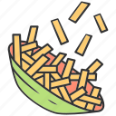 dinner, dish, french, lunch, potato, salt, slice icon