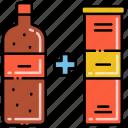 bottle, cross, package, selling icon
