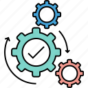 acquisition, execution, management, operation, science, working, working process icon