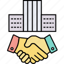 acquirer, agreement, building purchasing, business handshake, merger, procurement, takeover icon