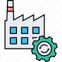 acquisition, factory management, factory optimization, factory working, manufacturing supply, merger icon