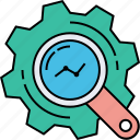 acquisition, evaluating, systematic determination, work checking, work management, work processing icon