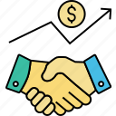 acquisition, agreement, business working, contractors, handshaking, merger, partnership icon