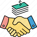 acquisition, agreement, contractors, financial agreement, handshaking, merger icon