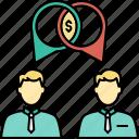 acquisition, business communication, business consultation, business conversation, business discussion, merger, negotiation icon