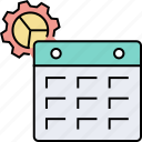 business working, calendar settings, day by day working, development, planning ahead, seo working icon