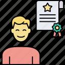 achievement award, acquisition, business achievement, business certificate, diploma, merger, performance evaluation icon
