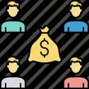finance distribution, management, merger, money division, partnership, profit distribution, teamwork icon