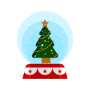 christmas, decorations, globe, merry, snow, tree icon