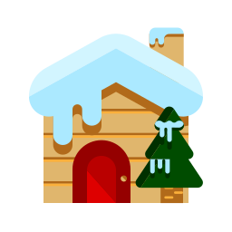 christmas, cottage, merry, snow, tree, wood, wooden icon