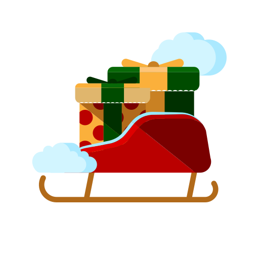 christmas, fly, gifts, merry, presents, santa, sled icon