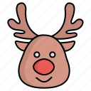 christmas, deer, head, reindeer