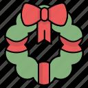 christmas, christmas wreath, decoration, wreath icon