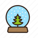 ball, christmas, globe, merry christmas, new year, snow, tree icon