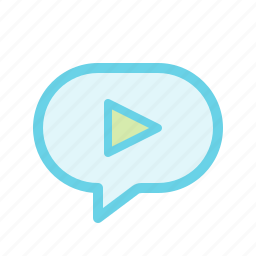 chat, media, message, multimedia, play icon