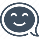 bubble, communication, conversation, face, message, smile, speech icon
