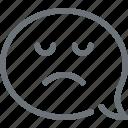 bubble, communication, conversation, face, message, sad, speech icon
