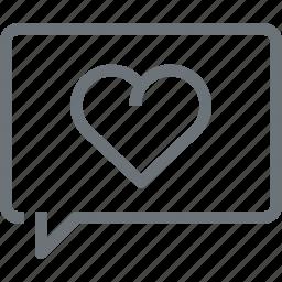 bubble, communication, conversation, heart, love, message, speech icon