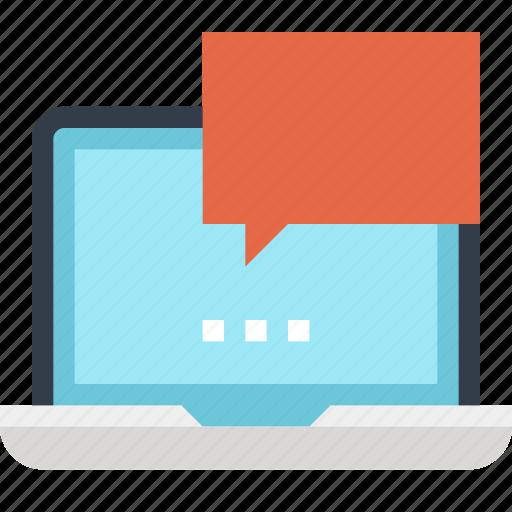 Bubble, chat, communication, conversation, laptop, message, speech icon - Download on Iconfinder