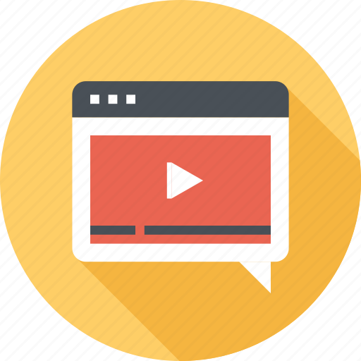 bubble, communication, conversation, message, speech, video, web icon