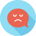 bubble, communication, conversation, face, message, sad, speech icon