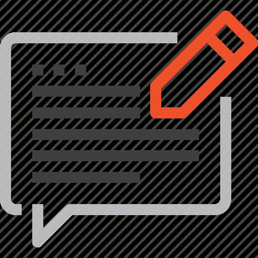 blog, bubble, chat, communication, conversation, message, speech icon