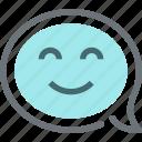 bubble, communication, conversation, face, message, smile, speech