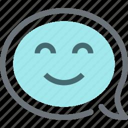 bubble, communication, conversation, face, message, smile, speech icon
