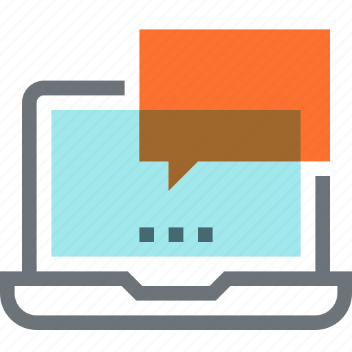 bubble, chat, communication, conversation, laptop, message, speech icon