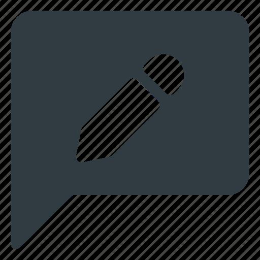 bubble, chat, edit, message icon