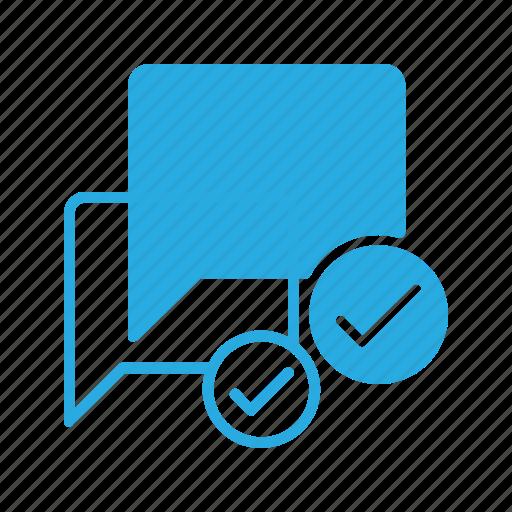 bubble, chat, check, message icon