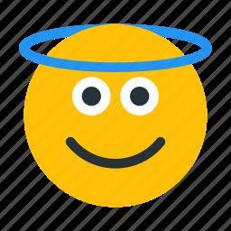 angel, emoji, emoticon, emotion, face, holy, smiley icon
