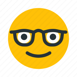 emoticon, face, geek, glasses, nerd icon