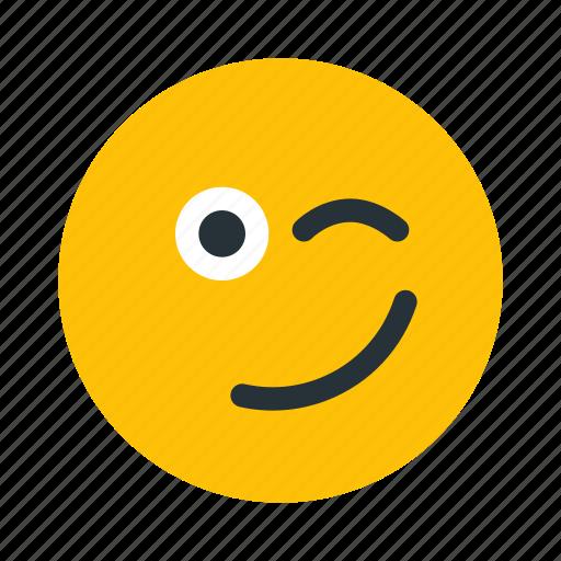 emoticon, emotion, face, wink icon