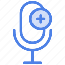 add audio, audio, media, mic, microphone, player, record icon