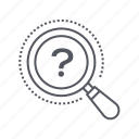 glass, magnifying, question, searching icon