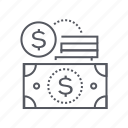 cash, coins, dollar, money icon