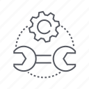 gear, repair, tools, wrench icon