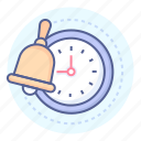 bell, clock, school, time icon