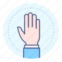 attention, hand, question, up icon