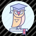 education, knowledge, owl, wisdom icon