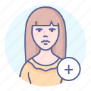 add, avatar, member, woman icon