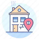 destination, house, location, mark