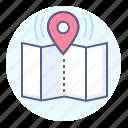 destination, map, route, tourism icon