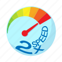 acceleration, cartoon, maximum, power, speed, speedometer icon