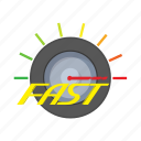 background, cartoon, fast, measurement, meter, speed, speedometer icon