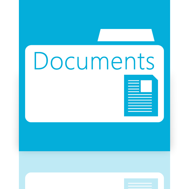 documents, folder, mirror icon