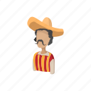 cartoon, hat, latino, man, mexican, mexico, sombrero icon